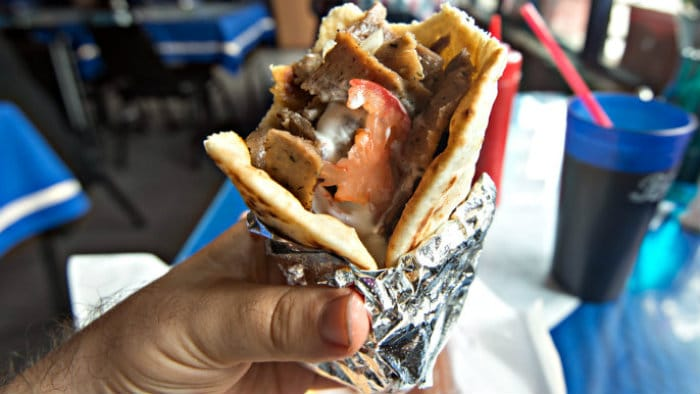 A couple of gyros, a bottle of Greek wine is all you need for a great meal.