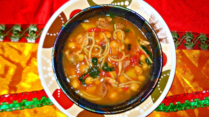 Harira is a hearty Moroccan soup.