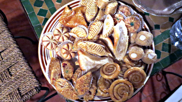 Moroccans eat a lot of sweet pastries.