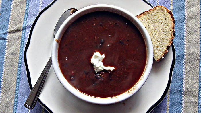 Sopa negra is a traditional Costa Rican soup.