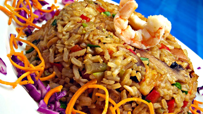 Arroz con camarones is a tasty dish from Latin America.