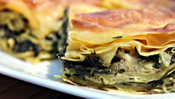Borek can be filled with meat or spinach and cheese.