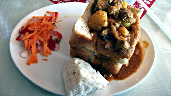 Bunny chow is a messy but delicious sandwich.