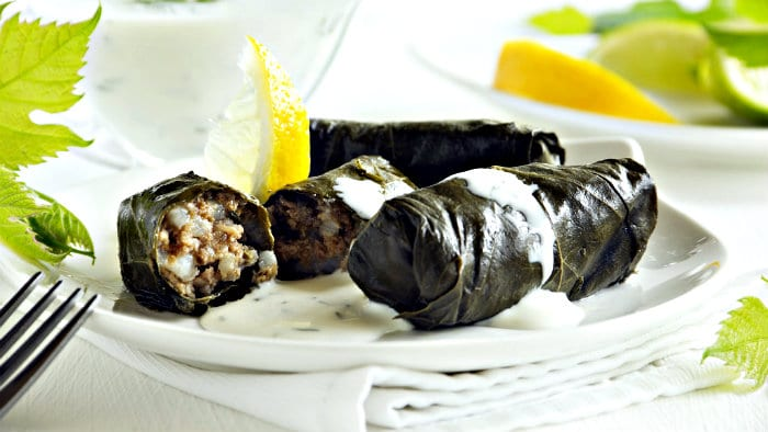 Grape leaves stuffed with meat, rice, onions are called dolma.