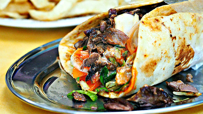 Gyros are made with meat and pita bread.