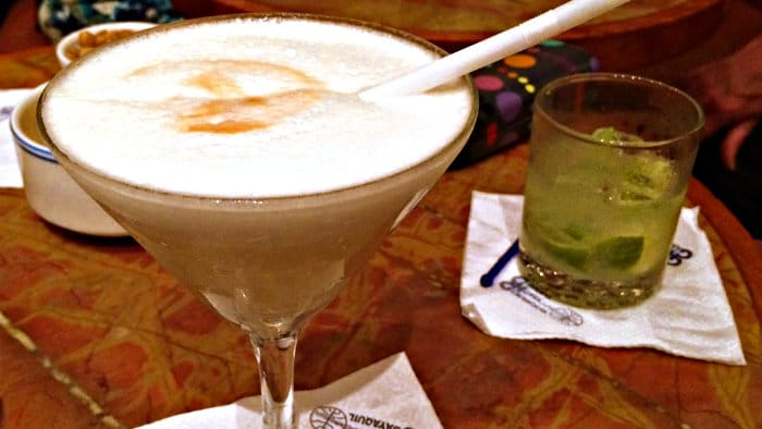Pisco sour cocktail is a typical drink in Latin America.
