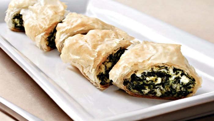 Spanakopita is filo pastry filled with vegetables and cheeses.