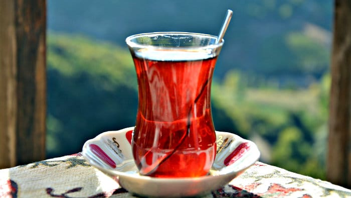 Turkish tea is traditionally served in small glasses.
