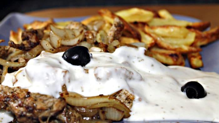 Tzatziki is made with Greek yogurt, garlic, cucumber, dill.