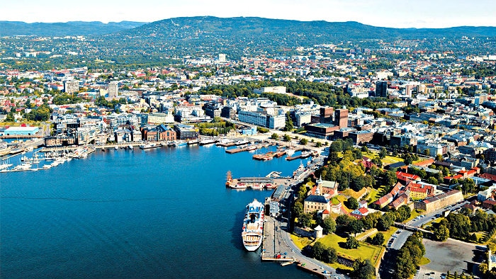 Oslo is located at the end of the fiord.