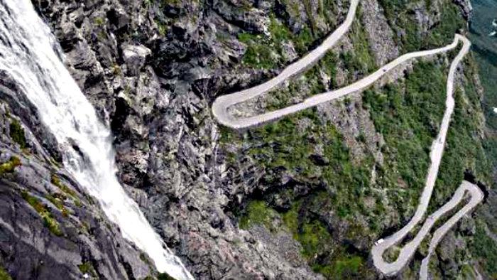 Trollstigen Mountain Road attracts many tourists.