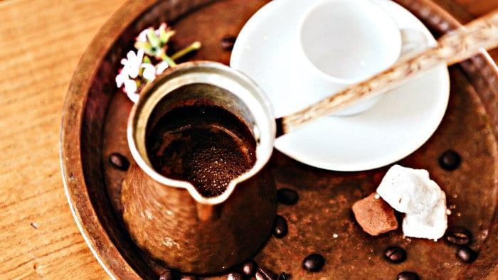 Strong Greek coffee needs a lot of sugar or a Greek dessert.