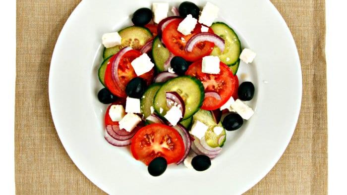 Greek salad is easy to make.