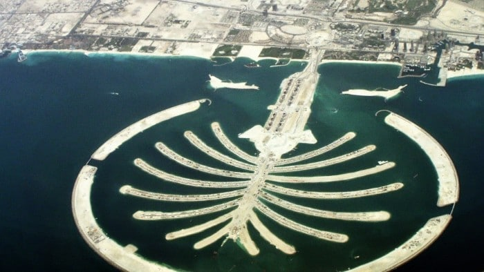 Island in Dubai in the shape of the palm tree.
