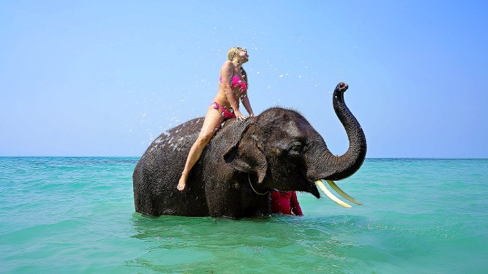 Riding an elephant in the sea.