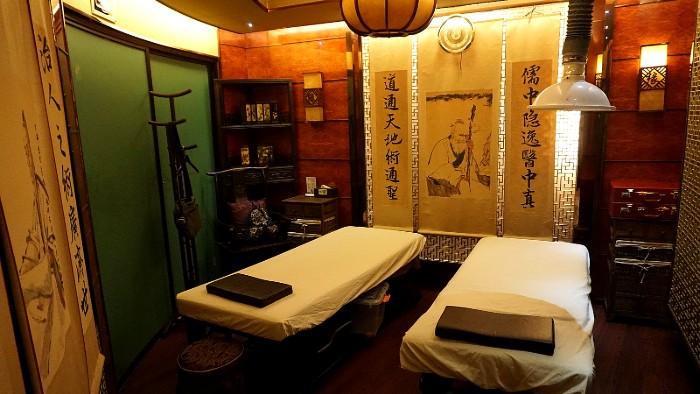 Semi-private massage room in China.